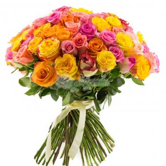 Букет из 75 Эквадорских роз микс