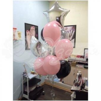 Фонтан из шаров «Розовые и черные»